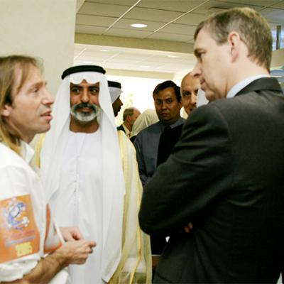 Prince Andrew with the Real Spiderman Alain Robert rock climber grimpeur francais